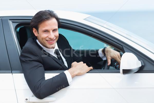 Boldog vezetés üzletember autó férfi portré Stock fotó © wavebreak_media
