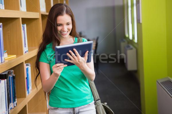 öğrenci tablet kütüphane üniversite kadın mutlu Stok fotoğraf © wavebreak_media