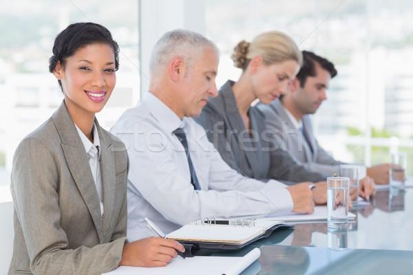 Stock fotó: üzleti · csapat · jegyzetel · konferencia · iroda · üzlet · üveg