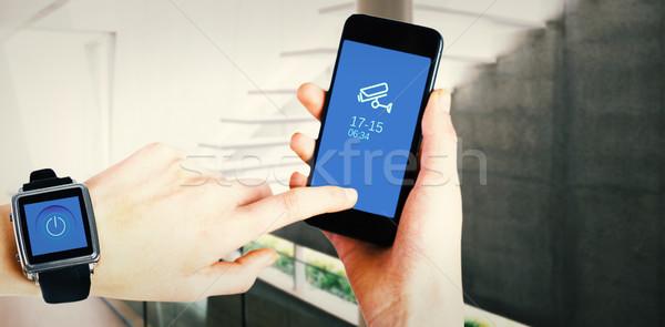összetett kép nő telefon elegáns modern Stock fotó © wavebreak_media