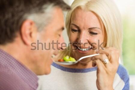 カップル 食べ フルーツサラダ 朝食 ホーム キッチン ストックフォト © wavebreak_media