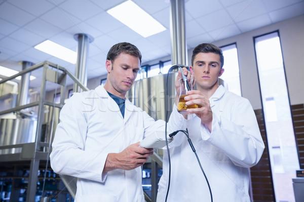 Dos hombres bata de laboratorio pruebas cerveza vaso fábrica Foto stock © wavebreak_media