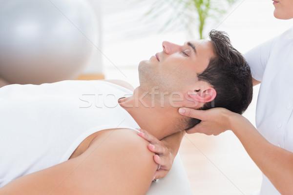 Man nek massage medische kantoor vrouw Stockfoto © wavebreak_media