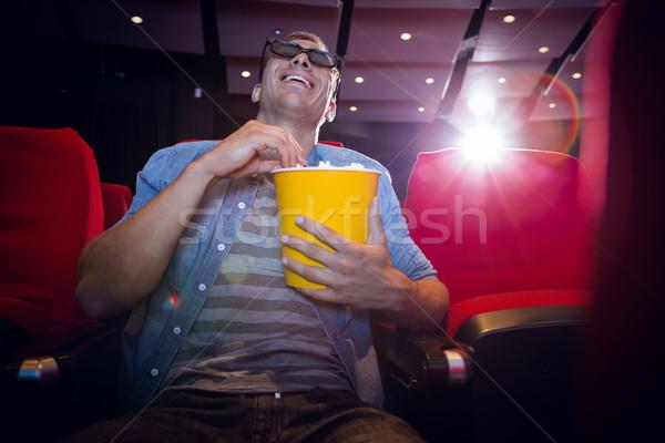 Boldog fiatalember néz 3D film mozi Stock fotó © wavebreak_media