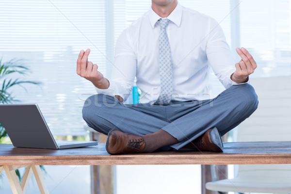 Zen empresario yoga meditación escritorio negocios Foto stock © wavebreak_media