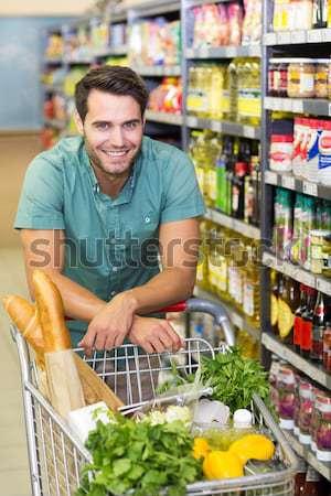 Stock fotó: Portré · mosolyog · férfi · vásárol · étel · okostelefon