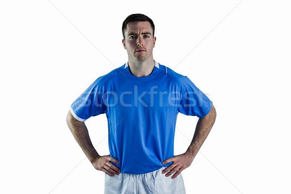 Rugby speler handen heupen portret ernstig Stockfoto © wavebreak_media