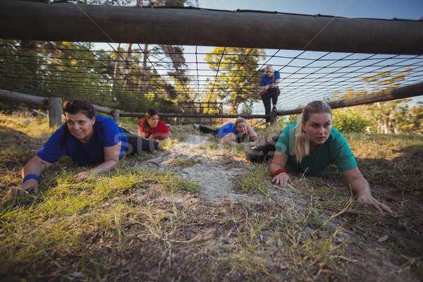 Csoport fitt nők kúszás net akadályfutás Stock fotó © wavebreak_media