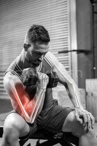 Digitalmente gerado imagem homem halteres ginásio Foto stock © wavebreak_media