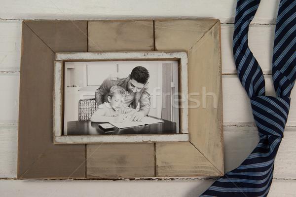 Photo frame cravatta legno primo piano uomo Foto d'archivio © wavebreak_media