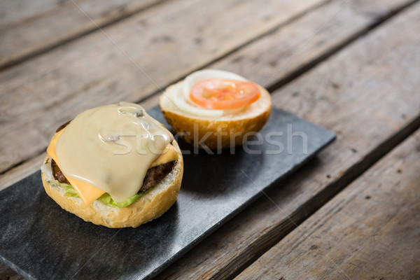 Sauce with cheese and meat on bun Stock photo © wavebreak_media