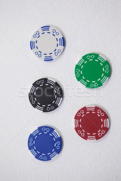 Сток-фото: фишки · казино · белый · различный · успех · шаблон · играть