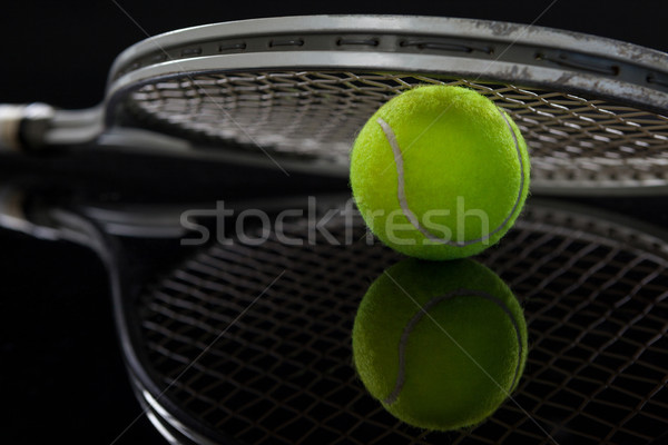 Racket tl Geel tennisbal reflectie Stockfoto © wavebreak_media