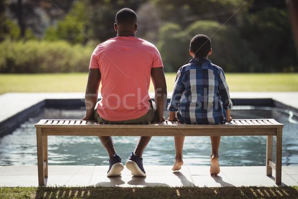 Apa fia ül együtt pad hátsó nézet szeretet Stock fotó © wavebreak_media