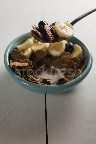 Ontbijt granen kom fitness melk Stockfoto © wavebreak_media
