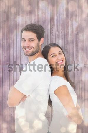 Pareja los brazos cruzados crossfit gimnasio mujer hombre Foto stock © wavebreak_media