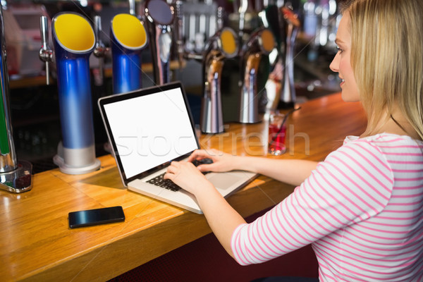Woman working on laptop at bar counter Stock photo © wavebreak_media