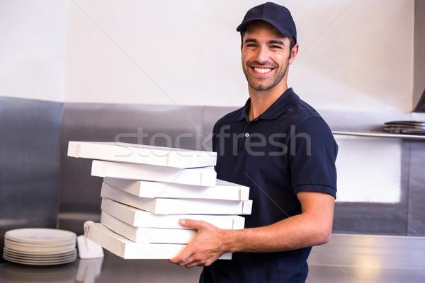 Pizza kutuları ticari mutfak Stok fotoğraf © wavebreak_media