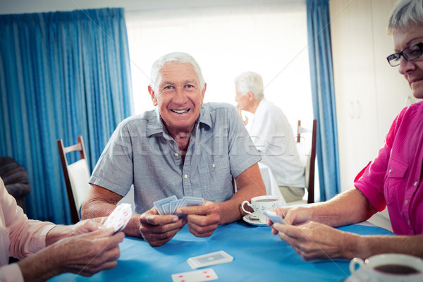 Grup yaşlılar iskambil kartları emeklilik ev adam Stok fotoğraf © wavebreak_media