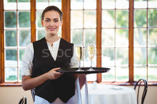 Portrait serveuse plateau champagne Photo stock © wavebreak_media
