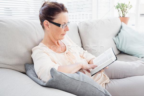 濃縮された 成熟した女性 読む 図書 ソファ ストックフォト © wavebreak_media