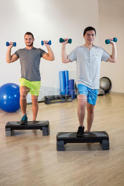 Iki adam adım aerobik egzersiz uygunluk Stok fotoğraf © wavebreak_media