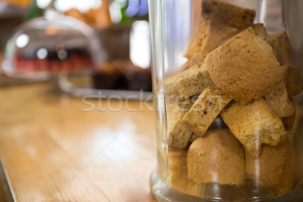 Közelkép sütik bögre étel boldog üveg Stock fotó © wavebreak_media