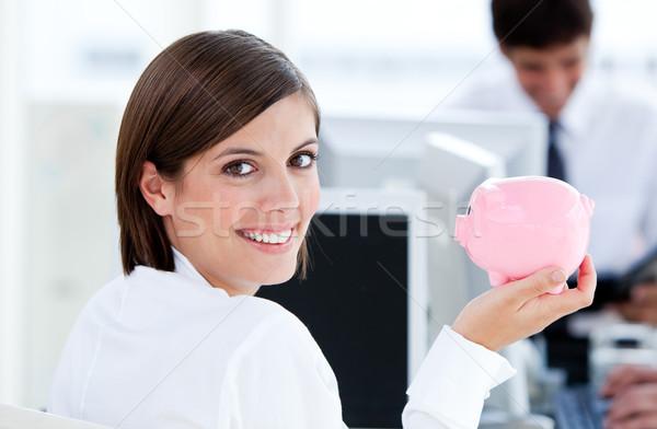 счастливым деловая женщина служба клавиатура Сток-фото © wavebreak_media