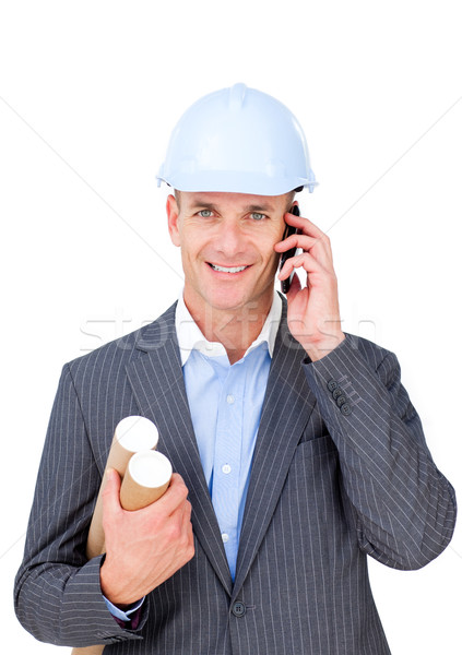 Charmant mannelijke architect praten telefoon geïsoleerd Stockfoto © wavebreak_media