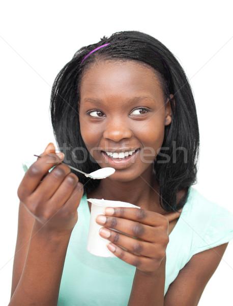 Boldog fiatal nő eszik joghurt fehér étel Stock fotó © wavebreak_media