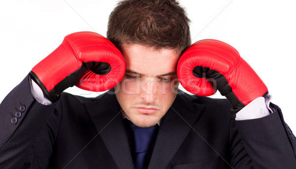Empresário luvas de boxe cabeça jovem negócio mão Foto stock © wavebreak_media