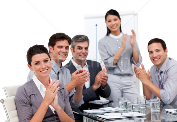熱狂的な 拍手 プレゼンテーション 白 女性 ストックフォト © wavebreak_media