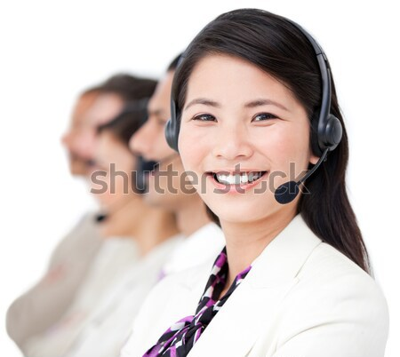 Female customer service agent with headset on in a call center Stock photo © wavebreak_media