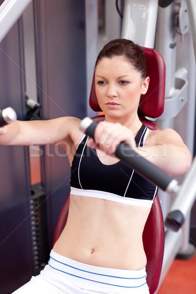 Positivo mulher banco imprensa fitness Foto stock © wavebreak_media