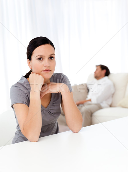Anxieux femme salon copain dormir canapé Photo stock © wavebreak_media