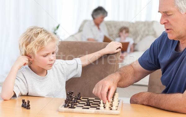 Jogar xadrez avô casa cara Foto stock © wavebreak_media