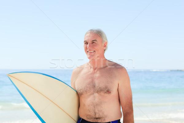 男 サーフボード ビーチ 笑顔 スポーツ ストックフォト © wavebreak_media