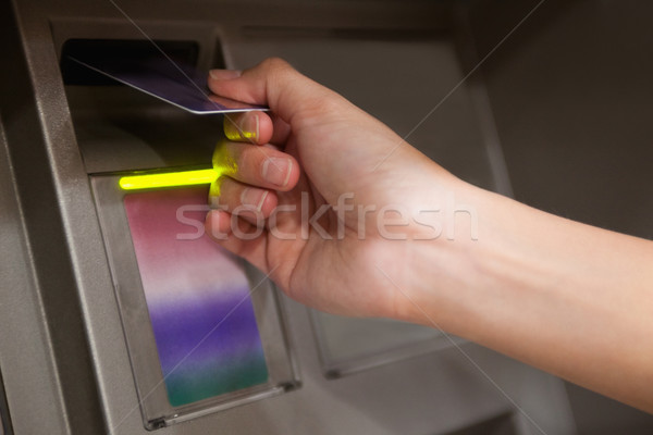 Stock foto: Hand · Kreditkarte · atm · Bank · Corporate