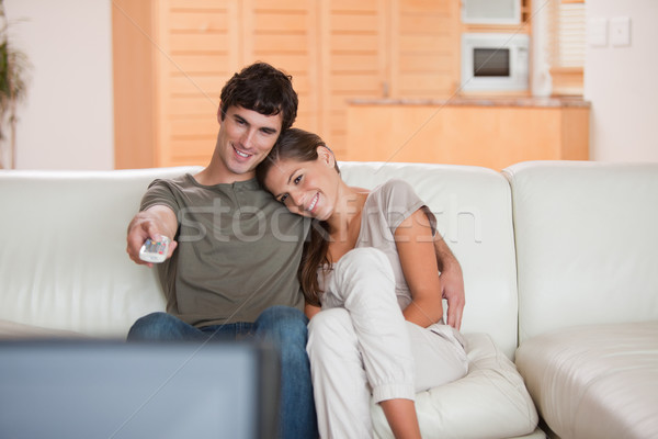 Fiatal pér kanapé tv nézés együtt televízió film Stock fotó © wavebreak_media