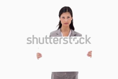 üzletasszony néz mutat üres tábla tábla fehér Stock fotó © wavebreak_media