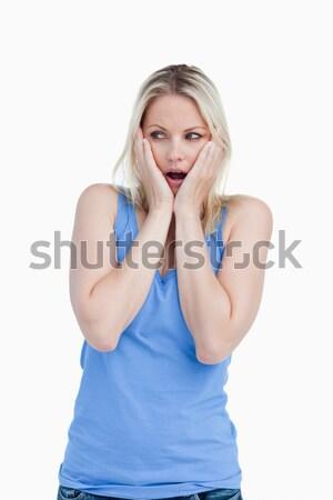 удивленный рук Щеки белый лице Сток-фото © wavebreak_media