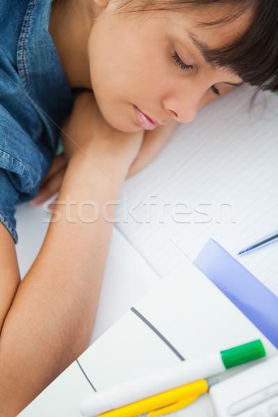 Görmek kadın öğrenci uyku ödev kitaplar Stok fotoğraf © wavebreak_media