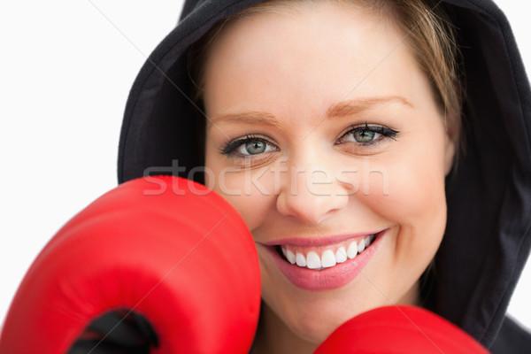 Nő mosolyog box fehér háttér boldog Stock fotó © wavebreak_media