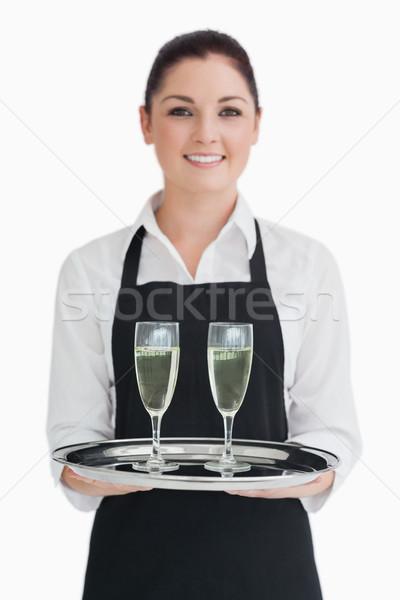 Camarera champán gafas plata bandeja Foto stock © wavebreak_media