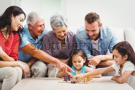 Family playing board games Stock photo © wavebreak_media