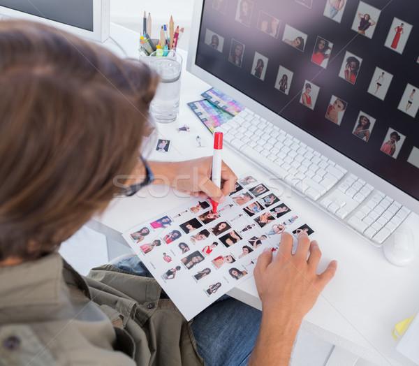 Fej szerkesztő kapcsolat lap asztal számítógép Stock fotó © wavebreak_media