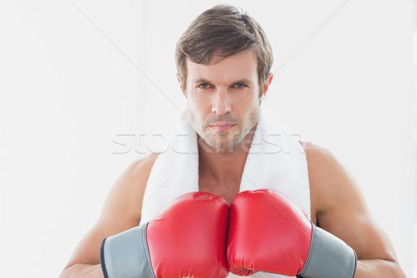 серьезный молодым человеком красный боксерские перчатки портрет Сток-фото © wavebreak_media