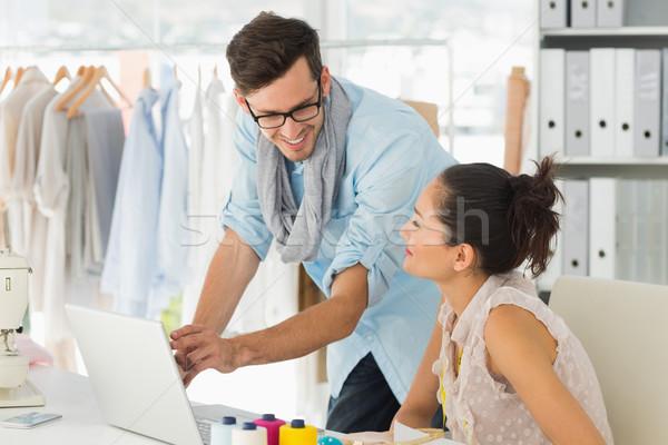 Divat laptopot használ stúdió férfi női munka Stock fotó © wavebreak_media