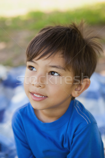 Boy looking away in thought at park Stock photo © wavebreak_media
