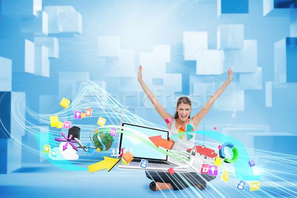 Jubel mit Laptop App Symbole digital composite Stock foto © wavebreak_media